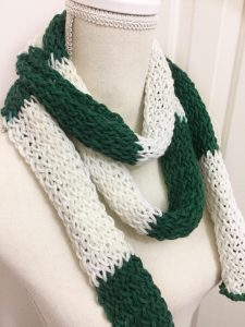 green and white color block scarf