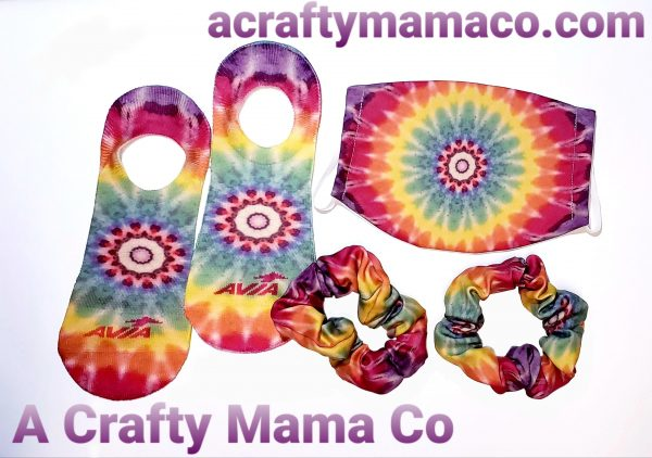 MATCHING TIE DYE SET NO SHOW SOCKS FACE MASK SCRUNCHIES SUBLIMATION PRINTED